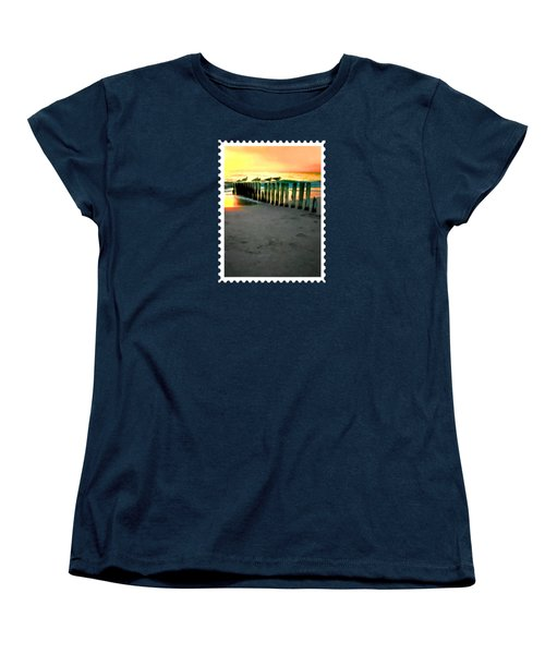 Sea Gulls On Pilings  At Sunset Women's T-Shirt (Standard Cut) by Elaine Plesser