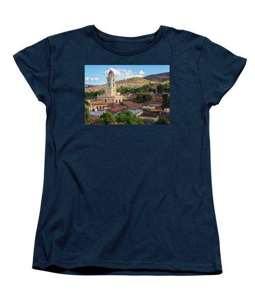 Women's T-Shirt (Standard Cut) featuring the photograph Trinidad Cuba Cityscape II by Joan Carroll
