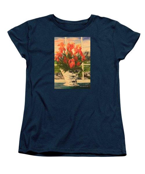 Women's T-Shirt (Standard Cut) featuring the painting Tulips by Nancy Czejkowski
