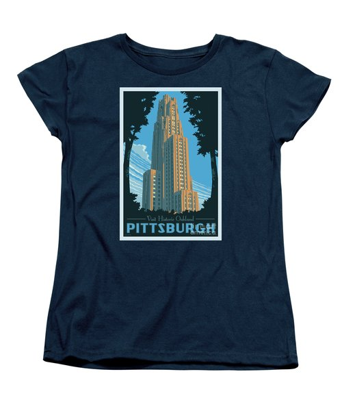 Vintage Style Pittsburgh Travel Poster Women's T-Shirt (Standard Cut) by Jim Zahniser