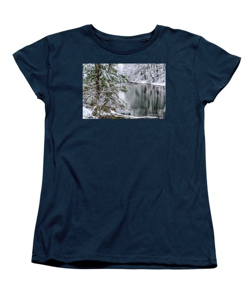 Women's T-Shirt (Standard Cut) featuring the photograph Winter Along Cranberry River by Thomas R Fletcher