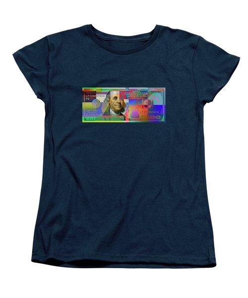 2009 Series Pop Art Colorized U. S. One Hundred Dollar Bill No. 1 Women's T-Shirt (Standard Cut) by Serge Averbukh