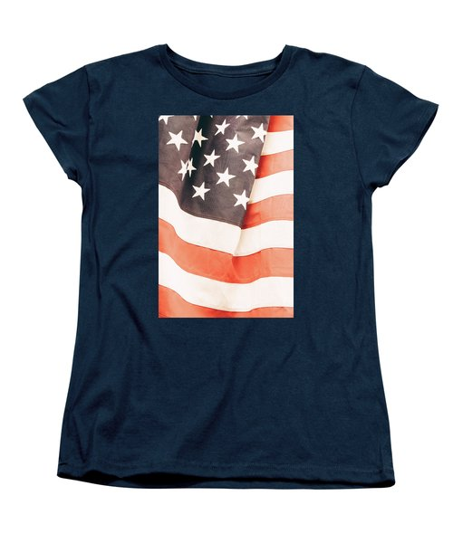 Women's T-Shirt (Standard Cut) featuring the photograph American Flag by Les Cunliffe