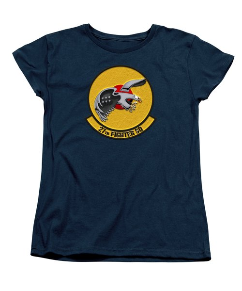 27th Fighter Squadron - 27 Fs Over Blue Velvet Women's T-Shirt (Standard Cut) by Serge Averbukh