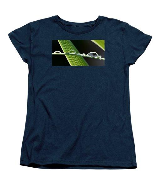 Big Rain Drops On Leaf Women's T-Shirt (Standard Cut) by Werner Lehmann