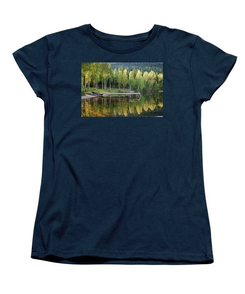 Birches And Reflection Women's T-Shirt (Standard Cut) by Aivar Mikko