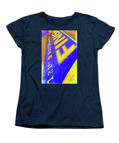 Women's T-Shirt (Standard Cut) featuring the photograph Boston Marathon Finish Line by Joann Vitali