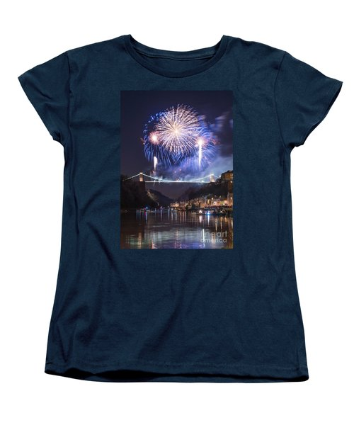 Clifton Suspension Bridge Fireworks Women's T-Shirt (Standard Cut) by Colin Rayner
