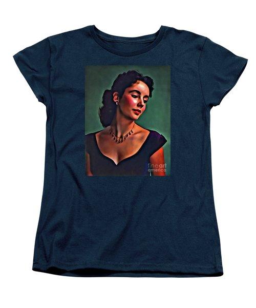 Elizabeth Taylor, Vintage Hollywood Legend By Mary Bassett Women's T-Shirt (Standard Cut) by Mary Bassett