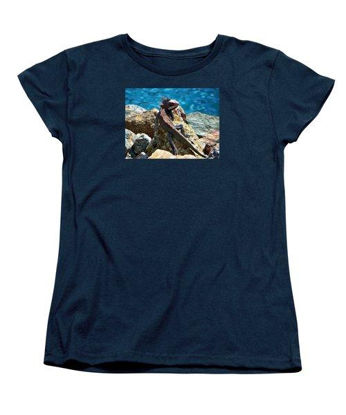 Green Iguana Women's T-Shirt (Standard Cut) by Anthony Dezenzio