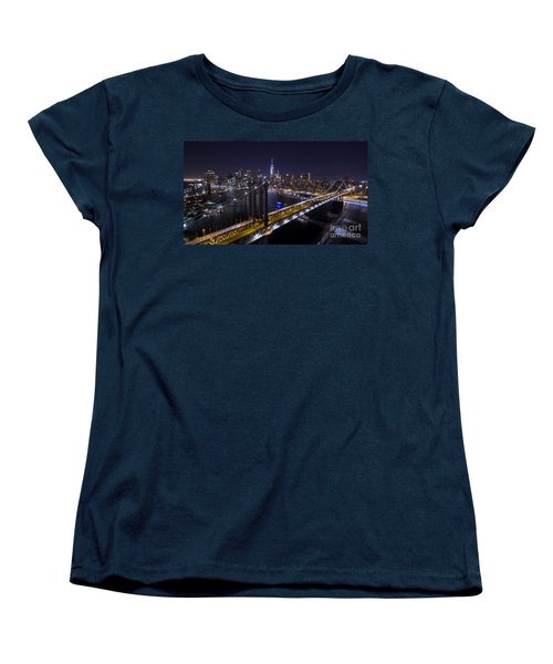 New York City, Manhattan Bridge At Night Women's T-Shirt (Standard Cut) by Petr Hejl