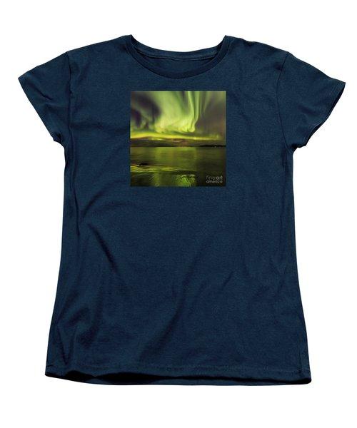 Northern Lights Reykjavik Women's T-Shirt (Standard Cut) by Gunnar Orn Arnason