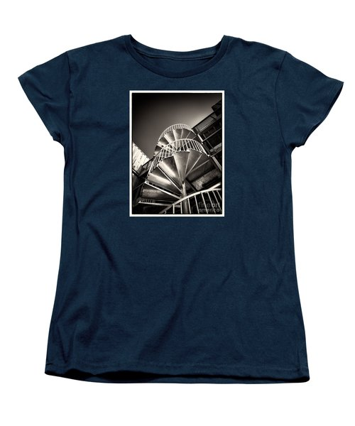 Women's T-Shirt (Standard Cut) featuring the photograph Pop Brixton - Spiral Staircase - Industrial Style by Lenny Carter