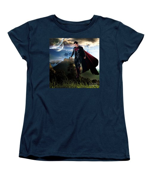 Women's T-Shirt (Standard Cut) featuring the mixed media Superman by Marvin Blaine
