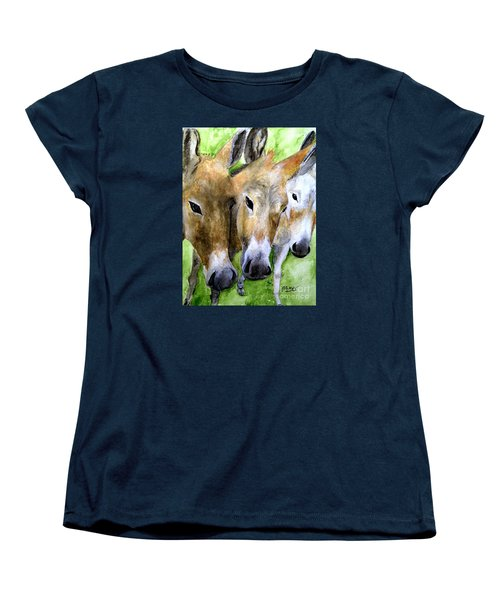 Women's T-Shirt (Standard Cut) featuring the painting 3 Wise Mules by Carol Grimes