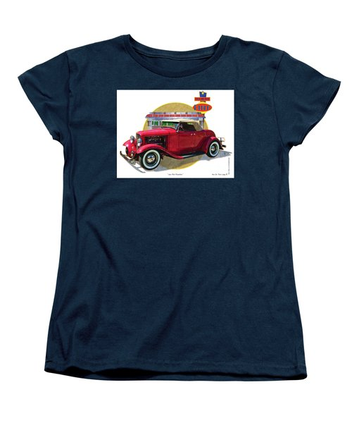 Women's T-Shirt (Standard Cut) featuring the drawing 32 Red Roadster by Kenneth De Tore