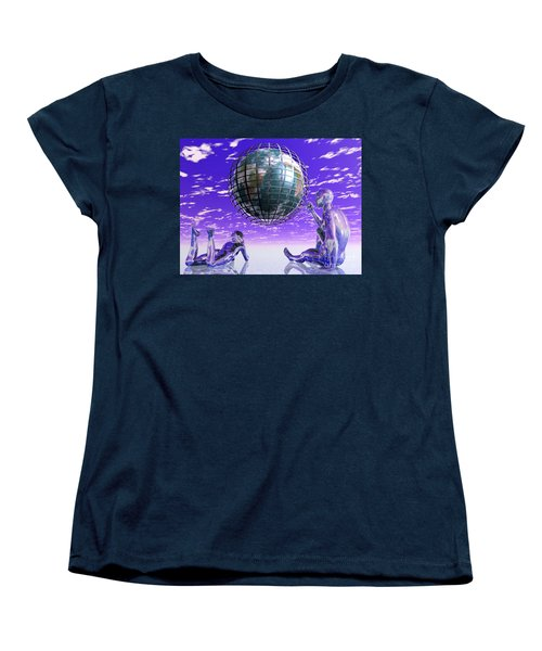 3d Aliens With Caged Earth Women's T-Shirt (Standard Cut) by Nicholas Burningham
