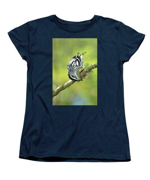 Black And White Warbler Women's T-Shirt (Standard Cut) by Alan Lenk