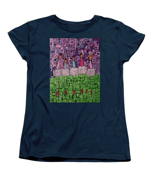 Women's T-Shirt (Standard Cut) featuring the painting 4 Non-blondes by Donna Howard