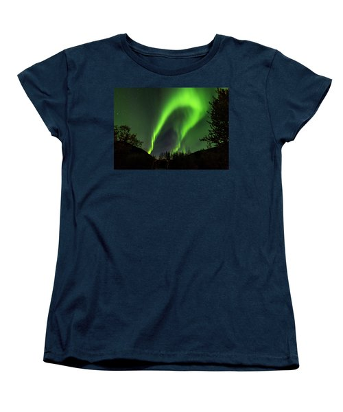 Northern Lights, Aurora Borealis At Kantishna Lodge In Denali National Park Women's T-Shirt (Standard Cut) by Brenda Jacobs