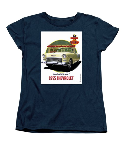 Women's T-Shirt (Standard Cut) featuring the drawing 55 Chevy by Kenneth De Tore
