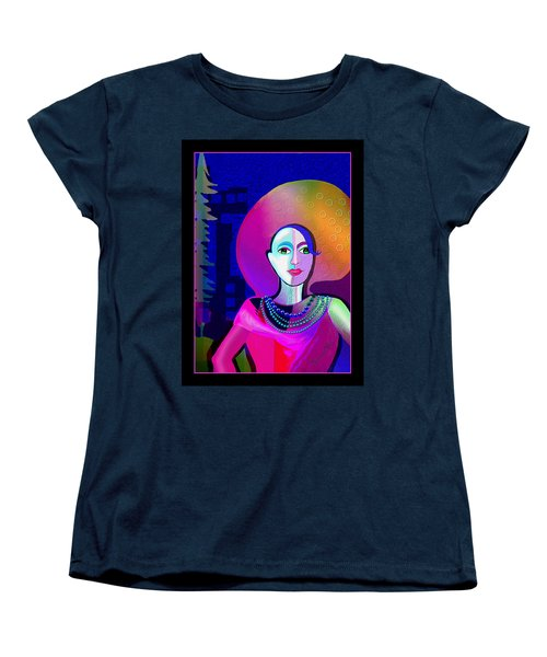 646 - Elegant Lady Pink And Blue 2017 Women's T-Shirt (Standard Cut) by Irmgard Schoendorf Welch