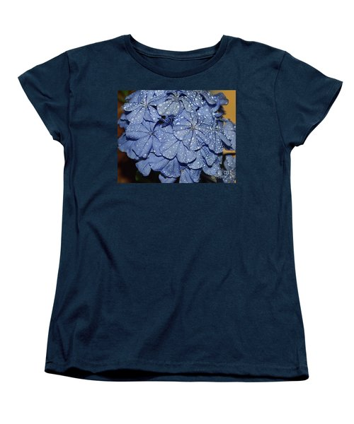Blue Plumbago Women's T-Shirt (Standard Cut) by Elvira Ladocki