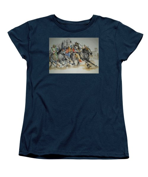 Women's T-Shirt (Standard Cut) featuring the painting Siena And Their Palio Album by Debbi Saccomanno Chan
