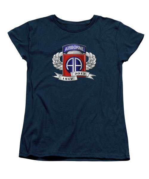 Women's T-Shirt (Standard Cut) featuring the digital art 82nd Airborne Division 100th Anniversary Insignia Over Blue Velvet by Serge Averbukh