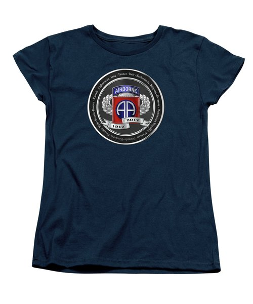 Women's T-Shirt (Standard Cut) featuring the digital art 82nd Airborne Division 100th Anniversary Medallion Over Blue Velvet by Serge Averbukh