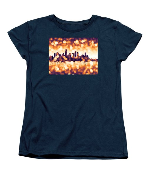 Los Angeles California Skyline Women's T-Shirt (Standard Cut) by Michael Tompsett