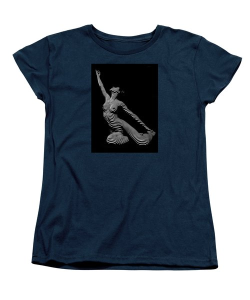 9970-dja Zebra Striped Yoga Reaching Sensual Lines Black White Photograph Abstract By Chris Mahert Women's T-Shirt (Standard Cut) by Chris Maher