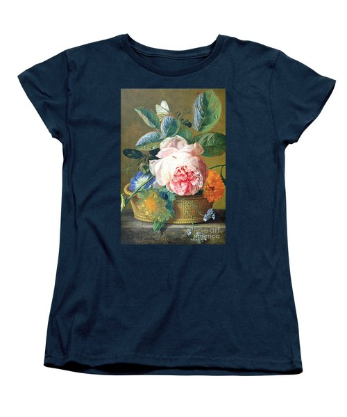A Basket With Flowers Women's T-Shirt (Standard Cut) by Jan van Huysum