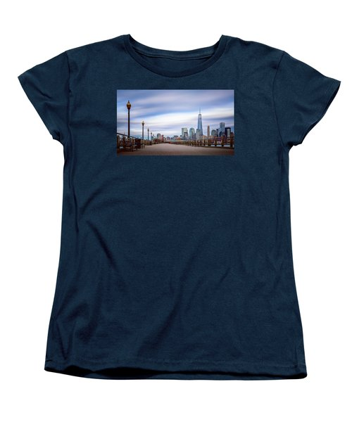 Women's T-Shirt (Standard Cut) featuring the photograph A Boardwalk In The City by Eduard Moldoveanu