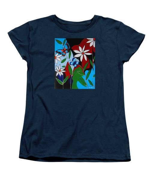 Women's T-Shirt (Standard Cut) featuring the painting A Butterflies Paradise by Kathleen Sartoris