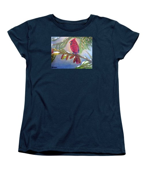 Women's T-Shirt (Standard Cut) featuring the painting A Cardinal's Sweet And Savory Song Of Winter Thawing Painting by Kimberlee Baxter