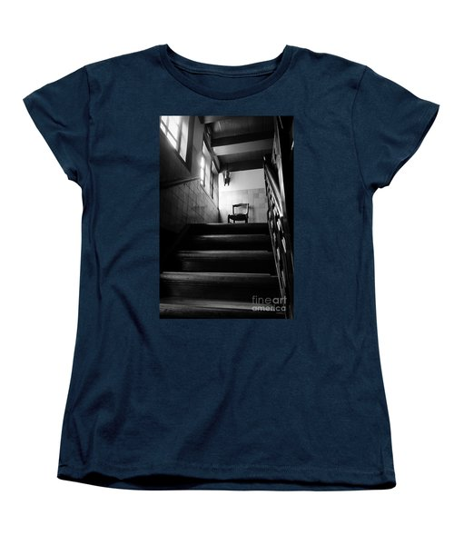 A Chair At The Top Of The Stairway Bw Women's T-Shirt (Standard Cut) by RicardMN Photography