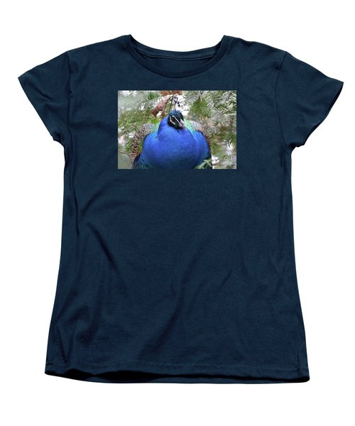 A Close Up Look At A Blue Peafowl Women's T-Shirt (Standard Cut) by DejaVu Designs