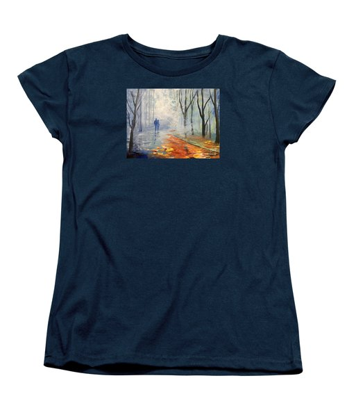 Women's T-Shirt (Standard Cut) featuring the painting A Fall Walk by Trilby Cole