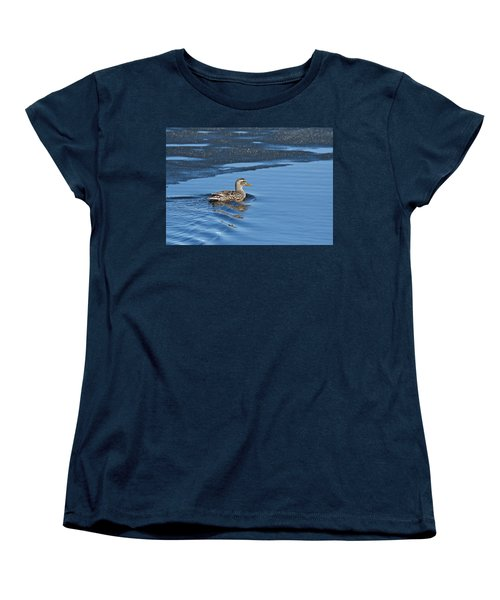 Women's T-Shirt (Standard Cut) featuring the photograph A Female Mallard In Thunder Bay by Michael Peychich
