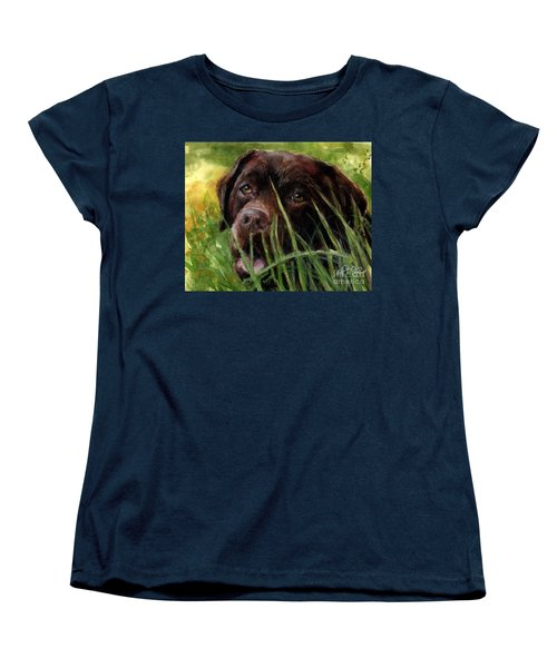 Women's T-Shirt (Standard Cut) featuring the painting A Gardener's Friend by Molly Poole