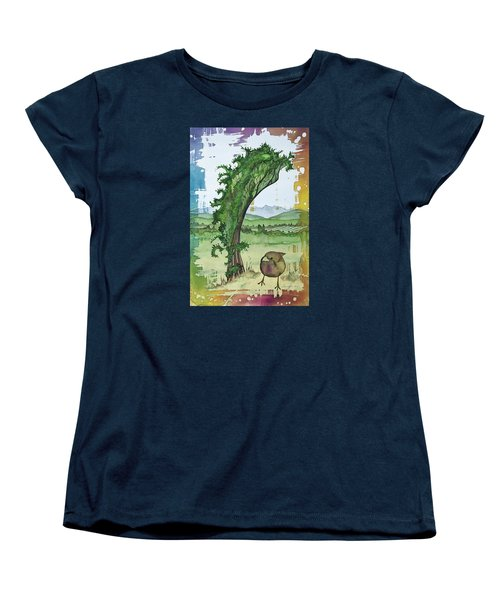 A Kale Leaf And A Little Bird Women's T-Shirt (Standard Cut) by Carolyn Doe