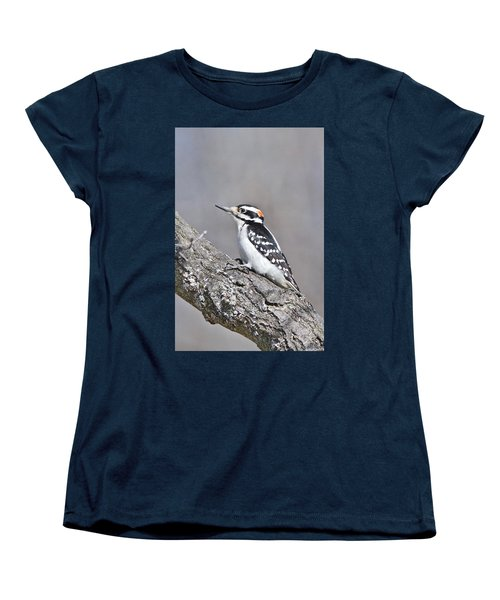 Women's T-Shirt (Standard Cut) featuring the photograph A Male Downey Woodpecker 1120 by Michael Peychich