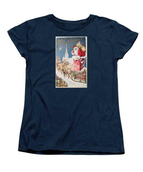 A Merry Christmas Vintage Greetings From Santa Claus And His Raindeer Women's T-Shirt (Standard Cut) by R Muirhead Art