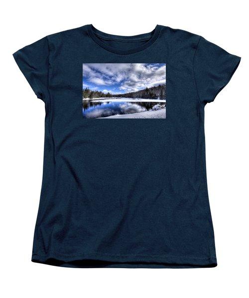 Women's T-Shirt (Standard Cut) featuring the photograph A Moose River Snowscape by David Patterson