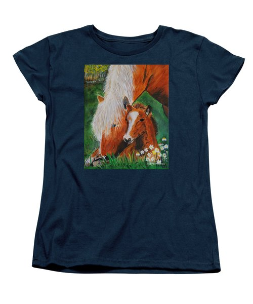Women's T-Shirt (Standard Cut) featuring the painting A Mothers Love by Leslie Allen