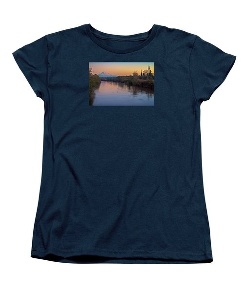 A Mt Tahoma Sunset Women's T-Shirt (Standard Cut) by Ken Stanback