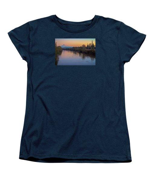 A Mt Tahoma Sunset Women's T-Shirt (Standard Cut)