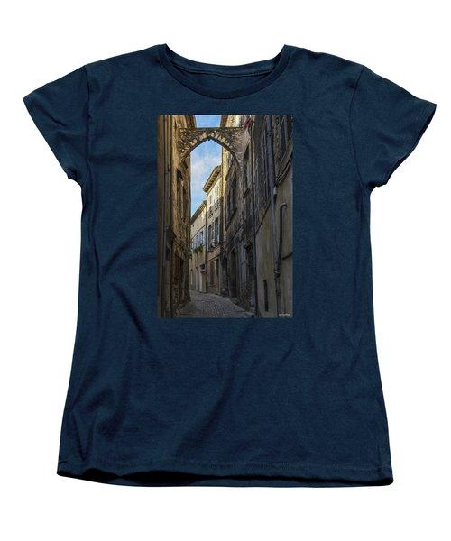 Women's T-Shirt (Standard Cut) featuring the photograph A Narrow Street In Viviers by Allen Sheffield