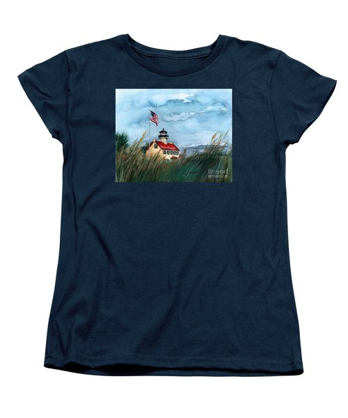 A New Day At East Point Lighthouse Women's T-Shirt (Standard Cut) by Nancy Patterson
